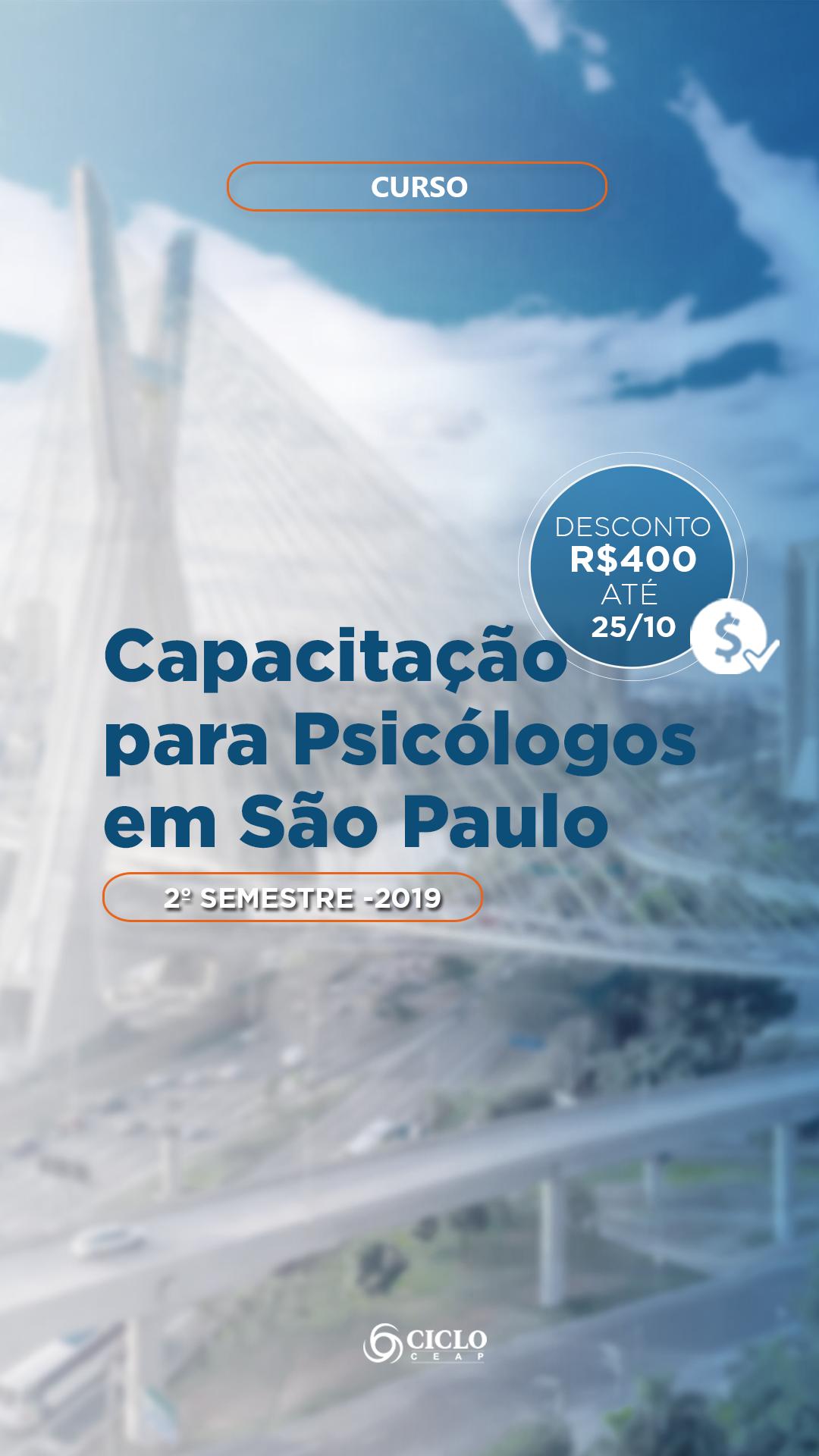 1 - Storie - Capa Carrosel - Capacitação para psicologo em São Paulo 2º Semestre